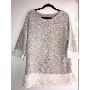 Soft Surroundings Lace Knit Top L